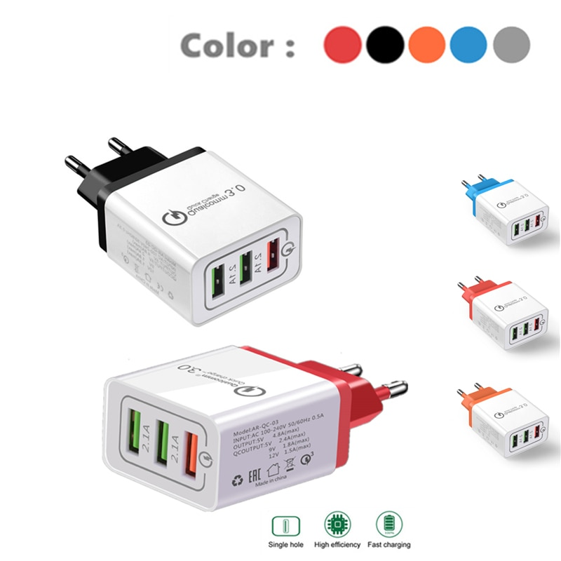 QC 3,0 USB adaptador de cargador 18W para Samsung s10 s9 iPhone X Xs X 8 7 plus 6s Cargador rápido para xiaomi mi9 mi8 huawei p30 P20 P9 Lite