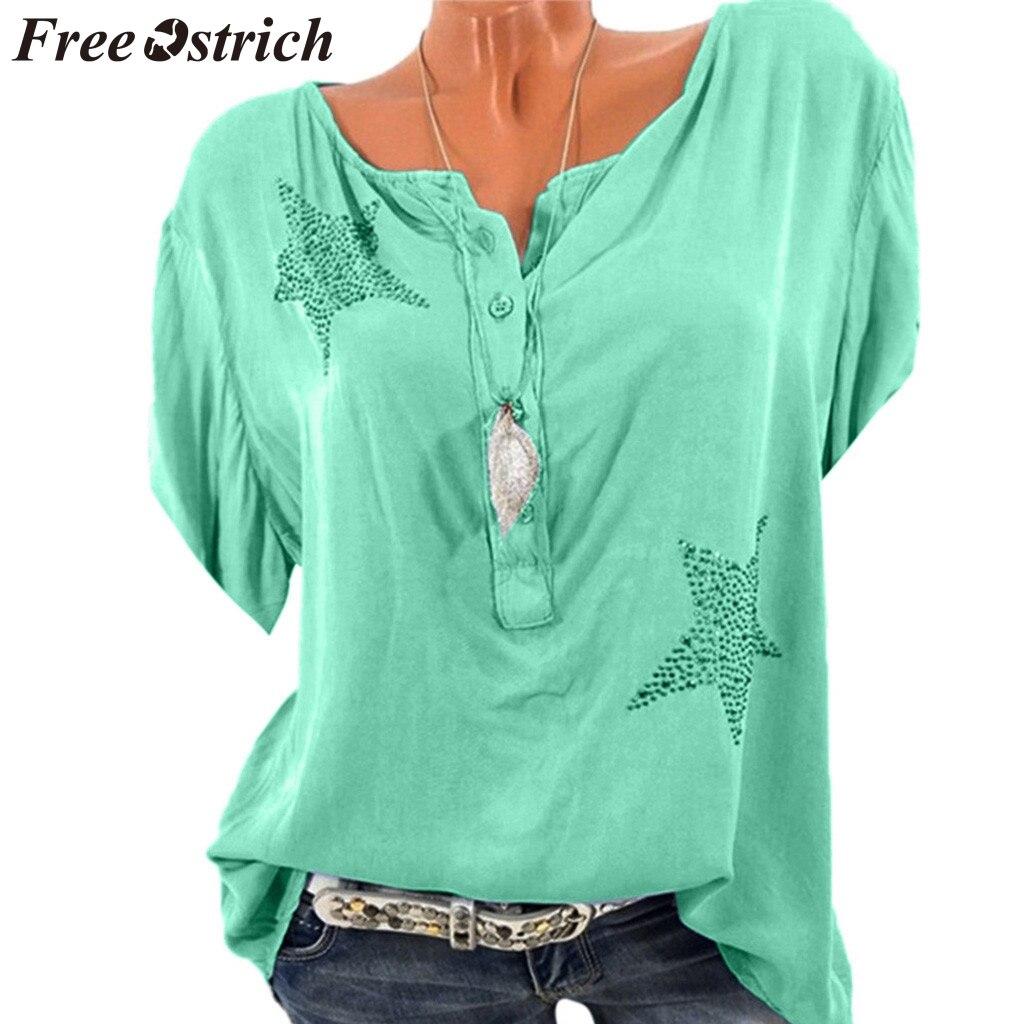 Camisas OSTRICH gratis para mujer, top de talla grande con estrella de cinco puntas y botones, blusas elegantes y populares de verano