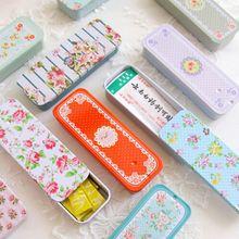 Telescopic mini slide Flower Shape Iron Storage Bag Gift Mini Jewelry Box Decoration Card Pill Case Simple And Fresh
