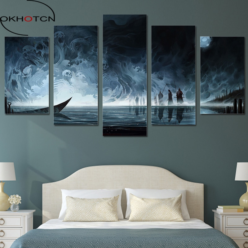 OKHOTCN lienzo arte HD cartel impreso Modular fotos hogar foto de decoración marco 5 piezas muerte mal alma oscuridad pintura arte de pared