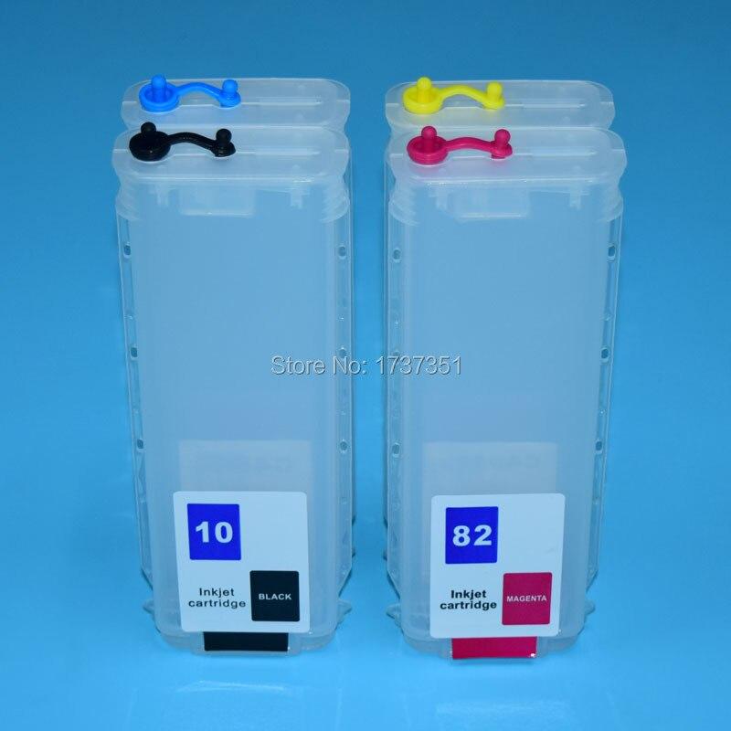 Cartucho de recarga de tinta con Chip de reinicio automático para impresora HP Designjet 280 500ps 500 800ps de 800 ml y 4 colores para HP 10 82