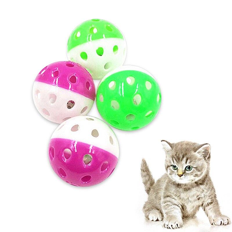 Pelota de juguete de plástico con campanilla incorporada para gato, tonos de llamada para mascotas que atraen juguete interactivo para gatos, bola multicolor al azar