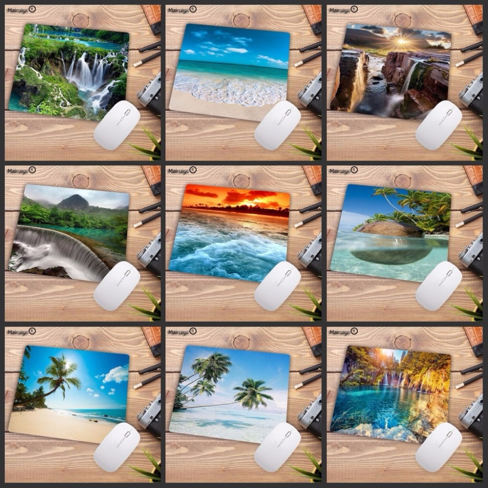Mairuige Beach Waterfall игровая скорость резиновая коврик для мыши Коврик для мыши для ноутбука ПК коврик для мыши для DOTA 2 LOL CSGO Play gamer 18X22CM коврик