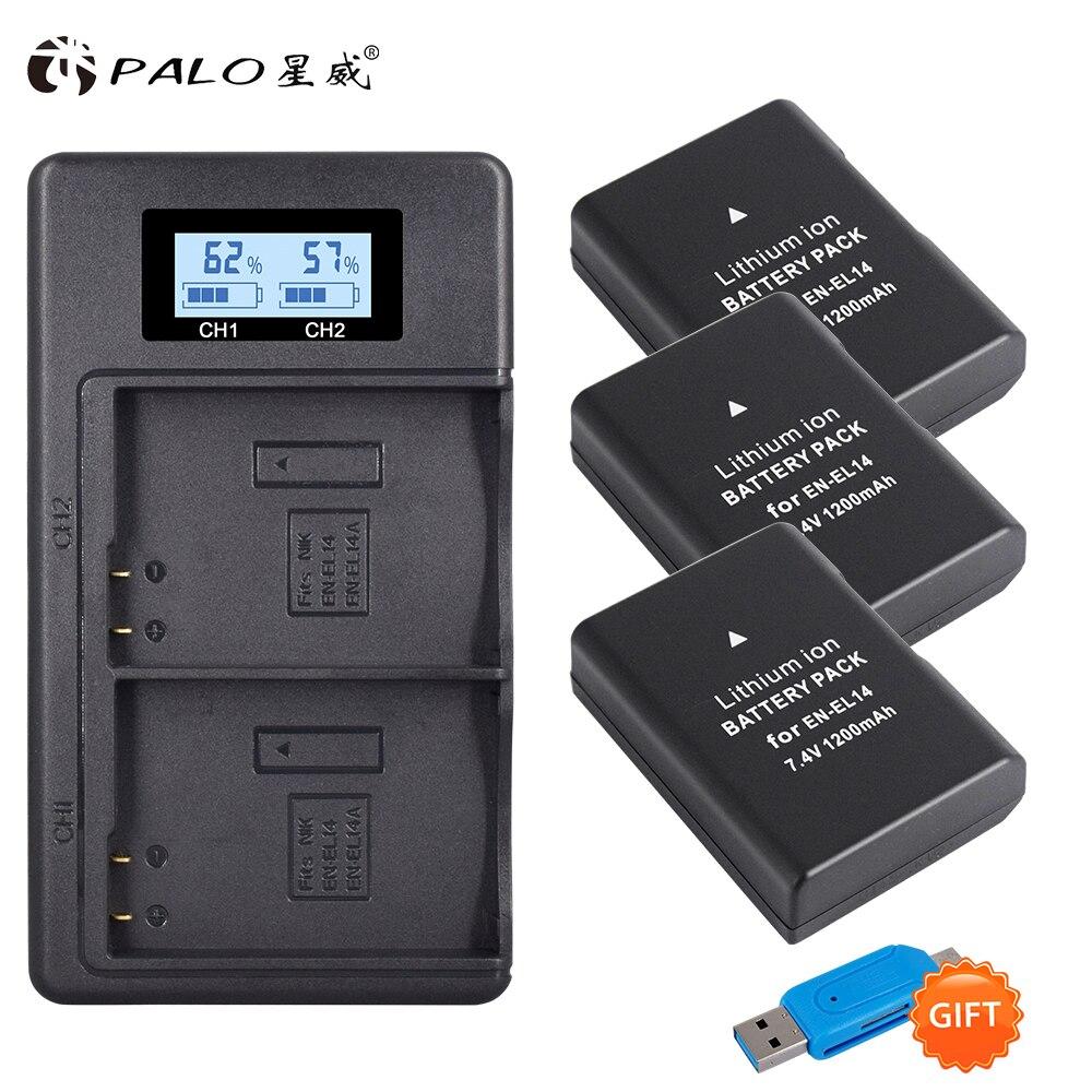 1200mAh 3x EN-EL14A EN-EL14 ENEL14 batería + LCD USB cargador Dual para Nikon D3100 D3200 D3300 D3400 D3500 D5600 D5100 D5200 P7000