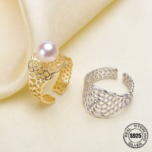 2018 Pearl jewelry Fashion 100% natural 8-9 mm Freshwater pearl rings S925 sterling silver jewelry ring For Women gift