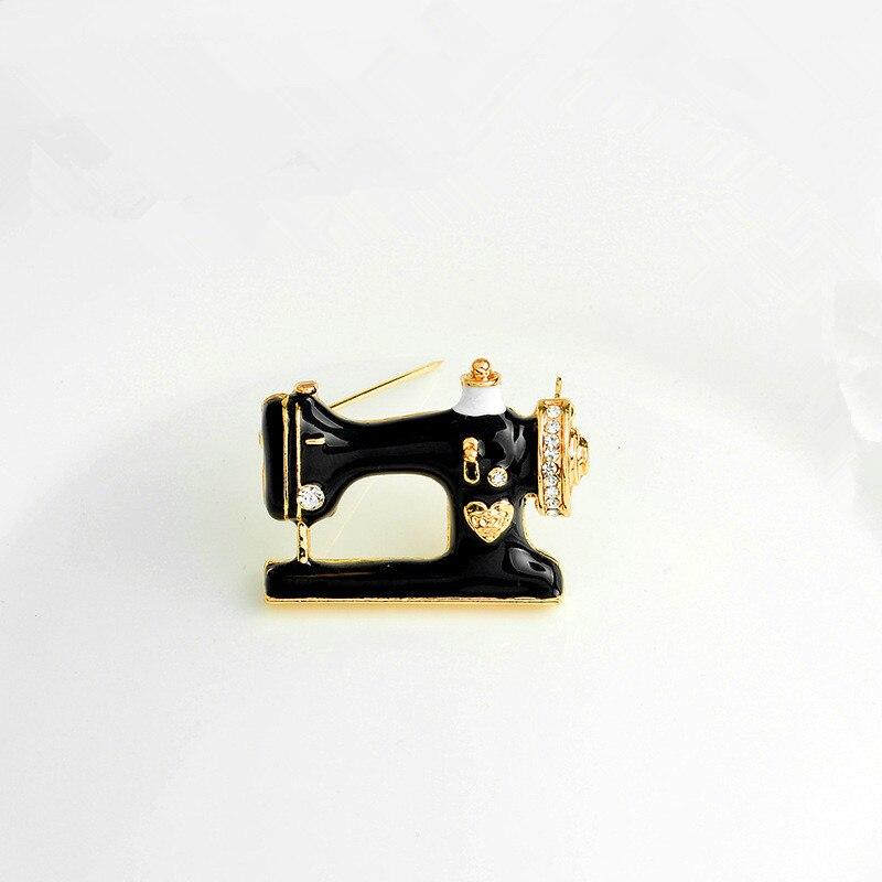 Qcooljly bonito máquina de costura broches na moda preto clolor metal broche pinos charme jóias para festa de casamento feminino meninas