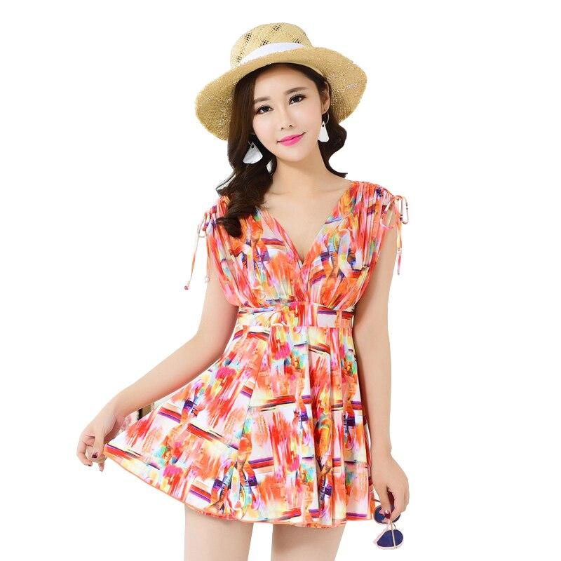 Push Up Zwembroek voor Vrouwen Plus Size Badmode Dames bescheiden Badpak V-hals met Underwire Begrenste Badpak Strand jurk