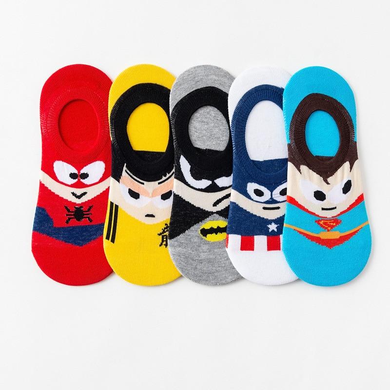 5 par/lote homens meias de tornozelo invisível baixo corte antiderrapante silicone barco meias dos desenhos animados verão meias curtas batman superman spiderman