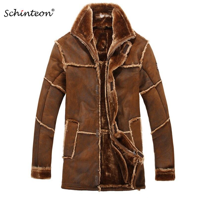 Prendas de Vestir gruesas y cálidas de moda para hombre de estilo europeo, abrigo de piel sintética para hombre de invierno, chaqueta de piel de ante empalmada, Parkas de talla grande