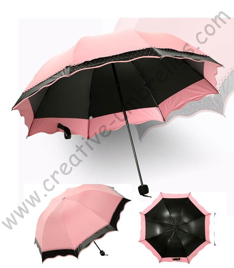 6 pzas unids/lote opción de color super ligero plegable mini paraguas 5 veces negro revestimiento Anti-UV dos capas carne Rosa encaje parasol