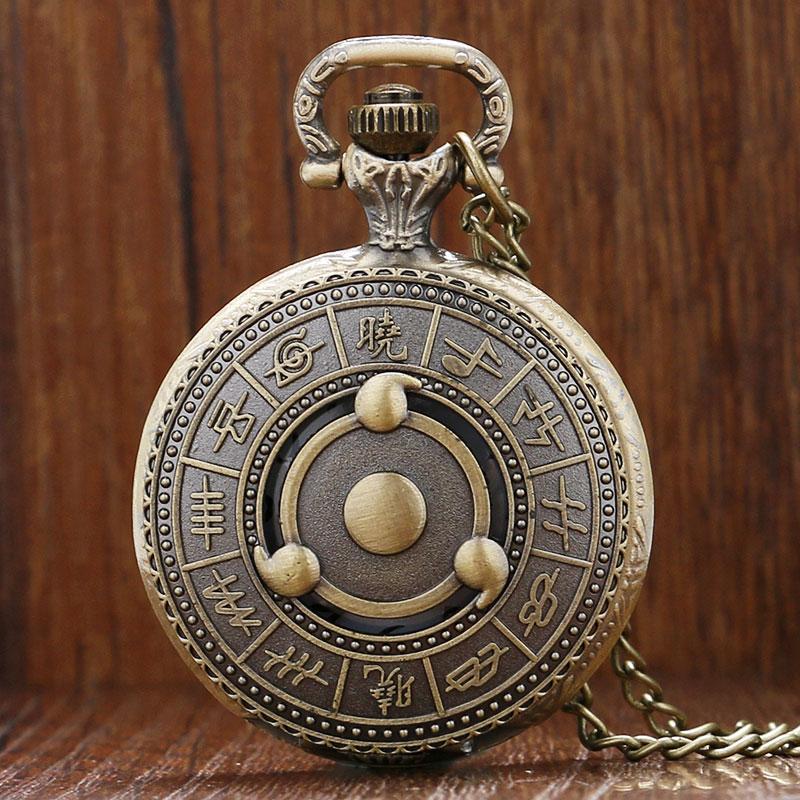 Bronze Naruto Quartz Pocket Watch Necklace Pendant Chain Cool Gift To Men Women Japanese Animation Vintage Watches