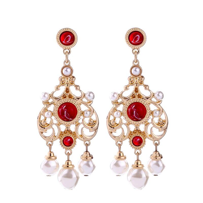 Pendientes de perlas simuladas de aleación ahuecada en línea de compras India de moda con estampado rojo pendientes colgantes joyería