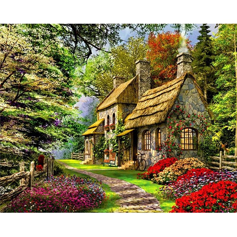 Pintura hecha a mano en casa en las montañas lienzo de alta calidad hermosa pintura por números regalo sorpresa gran logro