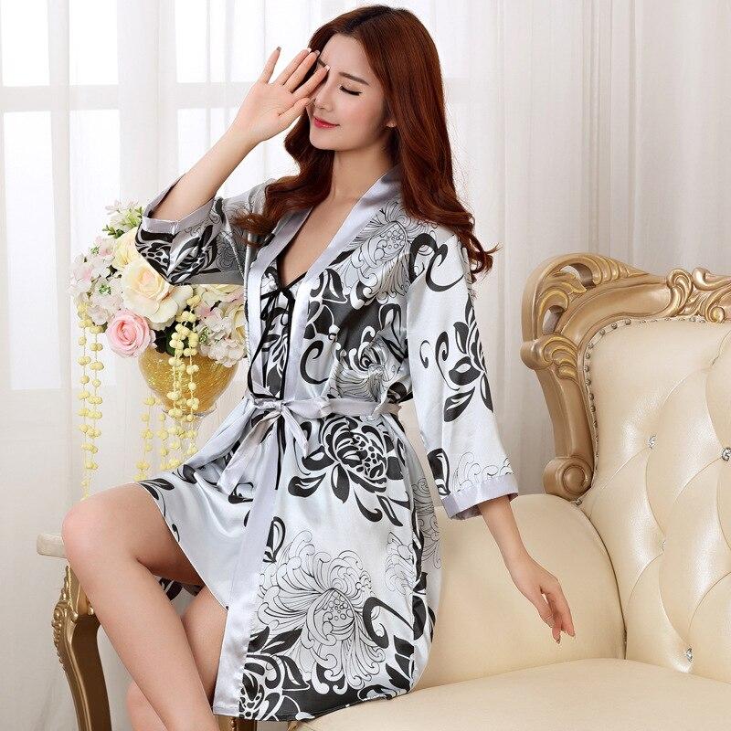 Сексуальный женский длинный халат из 2 предметов, атласный банный халат из искусственного шелка, женское кимоно, пижама с рисунком гейши, одежда для сна с цветочным принтом, халаты подружки невесты