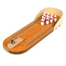 Mini Desktop Bowling Spiel Set Holz Bowling Alley Zehn Metall Pin Ball Schreibtisch