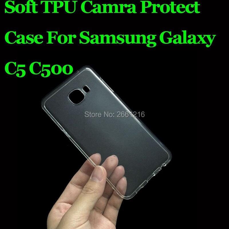 "Para Samsung C5 Ultra delgada suave TPU Gel de silicona transparente Cámara proteger caso para cubrir Samsung Galaxy C5 C5000 5,2"""