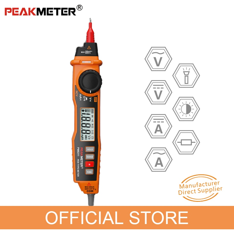 Multímetro Digital PEAKMETER PM8211 Tipo de rotulador con sonda ACV DCV, multímetro eléctrico de mano, resistencia, continuidad NCV