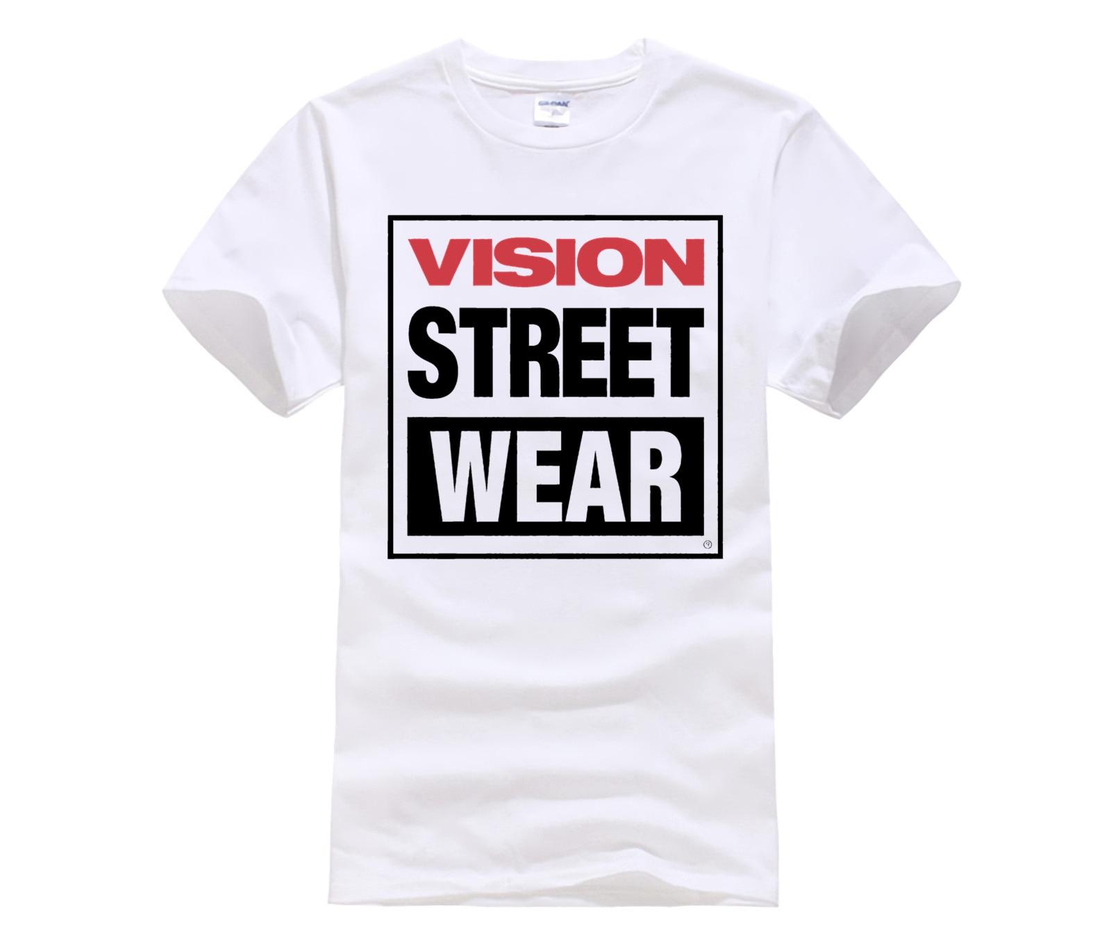 tshirt men Vintage Skate T Shirt Visione Tee Street Wear Shirt retro round neck cool  man's T-shirt