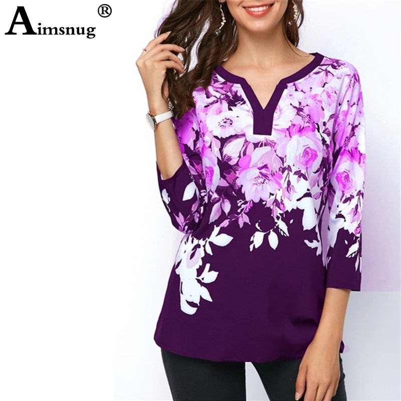Plus size 4xl 5xl 2019 Women New summer Boho Print Flower Tops Three-Quarter Sleeve V-Neck T Shirt Female Casual Tee Shirt
