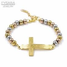 FYSARA Mix/or Bible croix coeur brassard breloque Bracelets acier inoxydable chapelet perles Bracelets & Bracelets unisexe Religion Pulseira