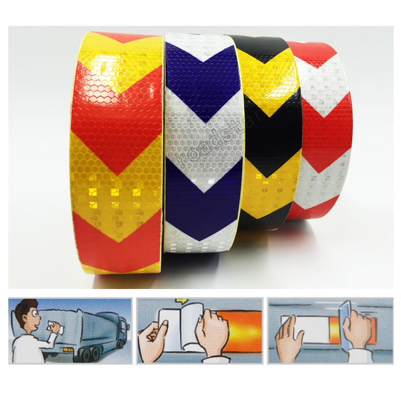 2017 newest red white black colors mountain 5cmx50m  Reflective Warning Tape Self Adhesive Sticker with Red/White Yellow/Red Yellow/Black Blue/White Arrow Printing for Car