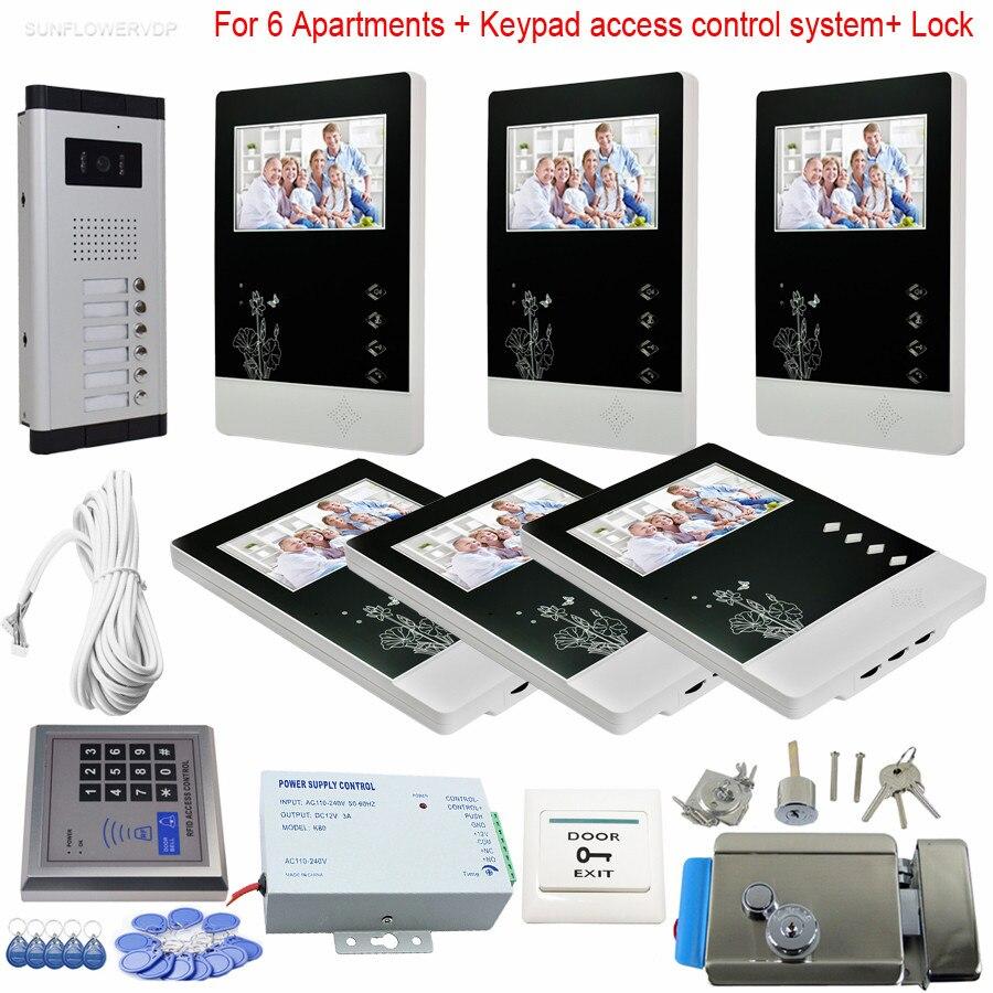 6 unidades de videoportero doméstico LCD de 4,3 pulgadas y 6 botones CCD cámara Video intercomunicadores con cerradura electrónica + Sistema de teclado Rfid