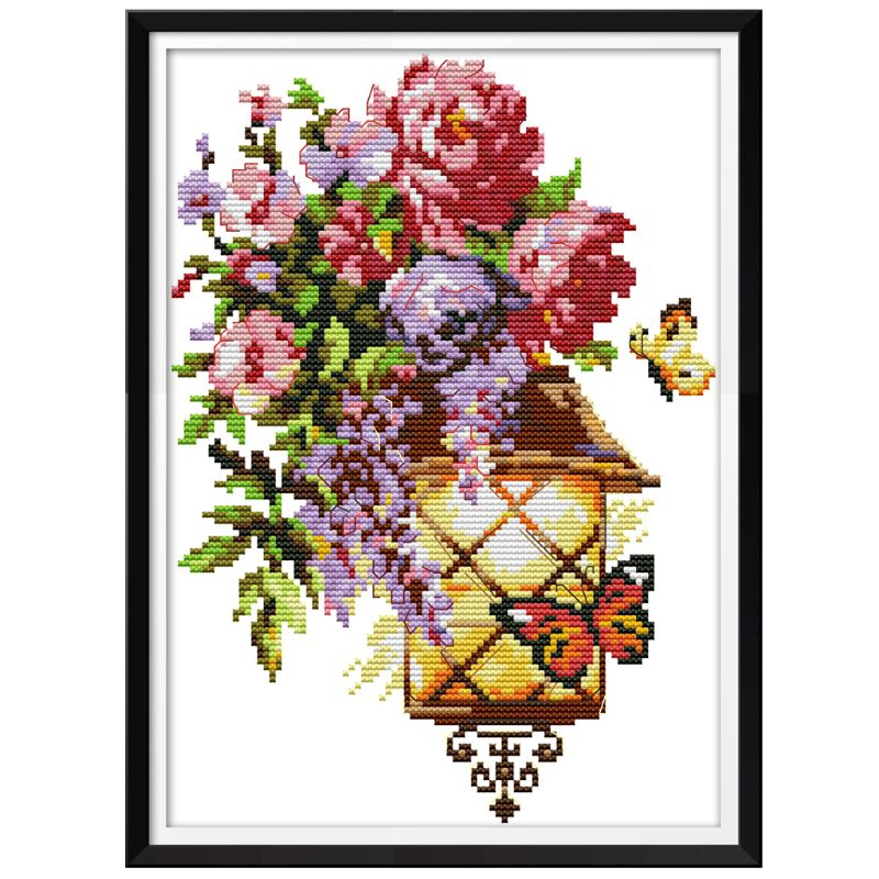 Flor Mariposa luz DIY hecho a mano costura conteo 14CT impreso punto de cruz kit juego de bordado decoración del hogar