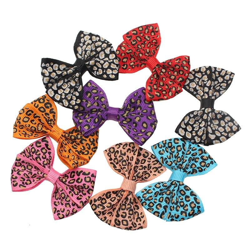 30 Uds. De moños de flores de listón y Leopardo de satén para artesanías, pajarita de grogrén, álbum de recortes con decoración para bodas, pinza para el pelo Diy