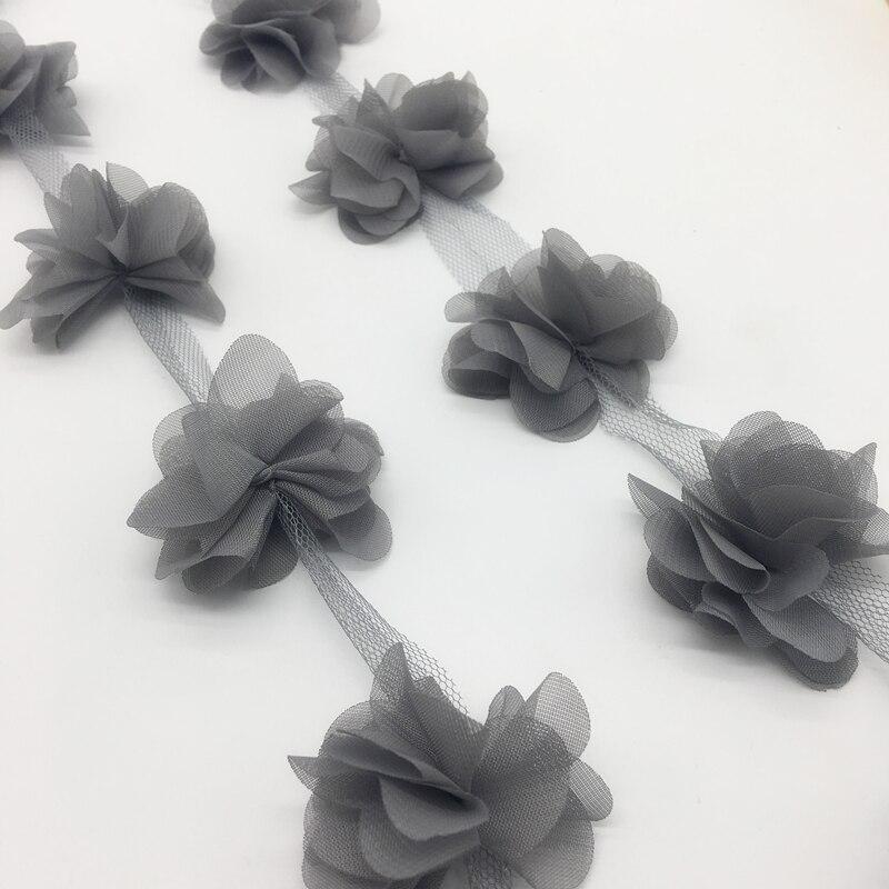 13pcs/yard 3D Gray Chiffon Cluster Flowers Wedding Dress Bridal Fabric Lace Trim Fabric DIY Sewing