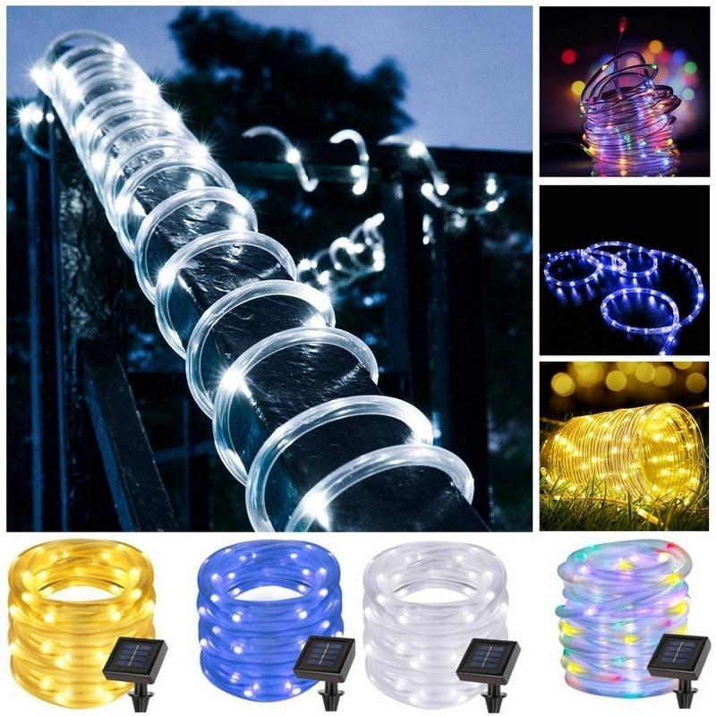 7M 12M 50/100leds Solar LED String Lights Outdoor Rope Tube Led String Solar Powered Fairy Lights for Garden Fence Landscape