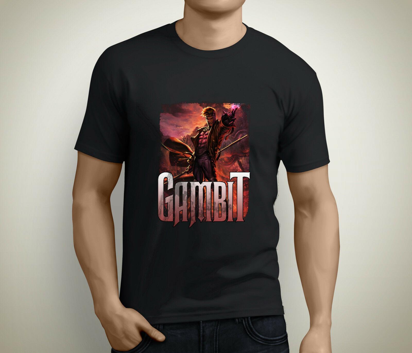 Nuevo GAMBIT X-hombres de manga corta negro camiseta tamaño S a 5XL 100% de algodón de manga corta cuello redondo tops Tee camisetas