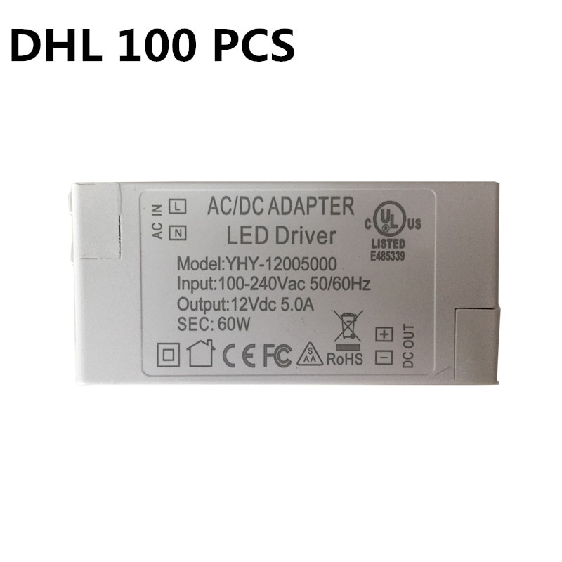 100pcs Excellent quality 12V 60W Lighting Transformers high quality safe Driver for LED strip 3528 5050 power supply