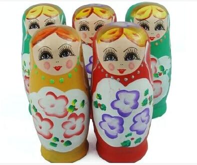 Muñeca Matryoshka colorida tradicional hecha a mano 5 unids/set de madera/madera muñecas rusas anidadas regalo infantil juguete de tamaño reducido