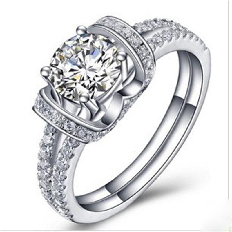 خاتم مويسانيتي من الذهب الأبيض عيار 14 قيراط للنساء ، خاتم ألماس 1 كيلو ، اختبار مويسانيتي إيجابي للزواج