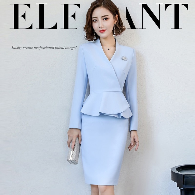Trajes de negocios, trajes formales de vestir para mujeres, novedad de 2018, conjunto de traje de manga larga de señora de oficina, uniformes elegantes de anfitrión de moda, F2