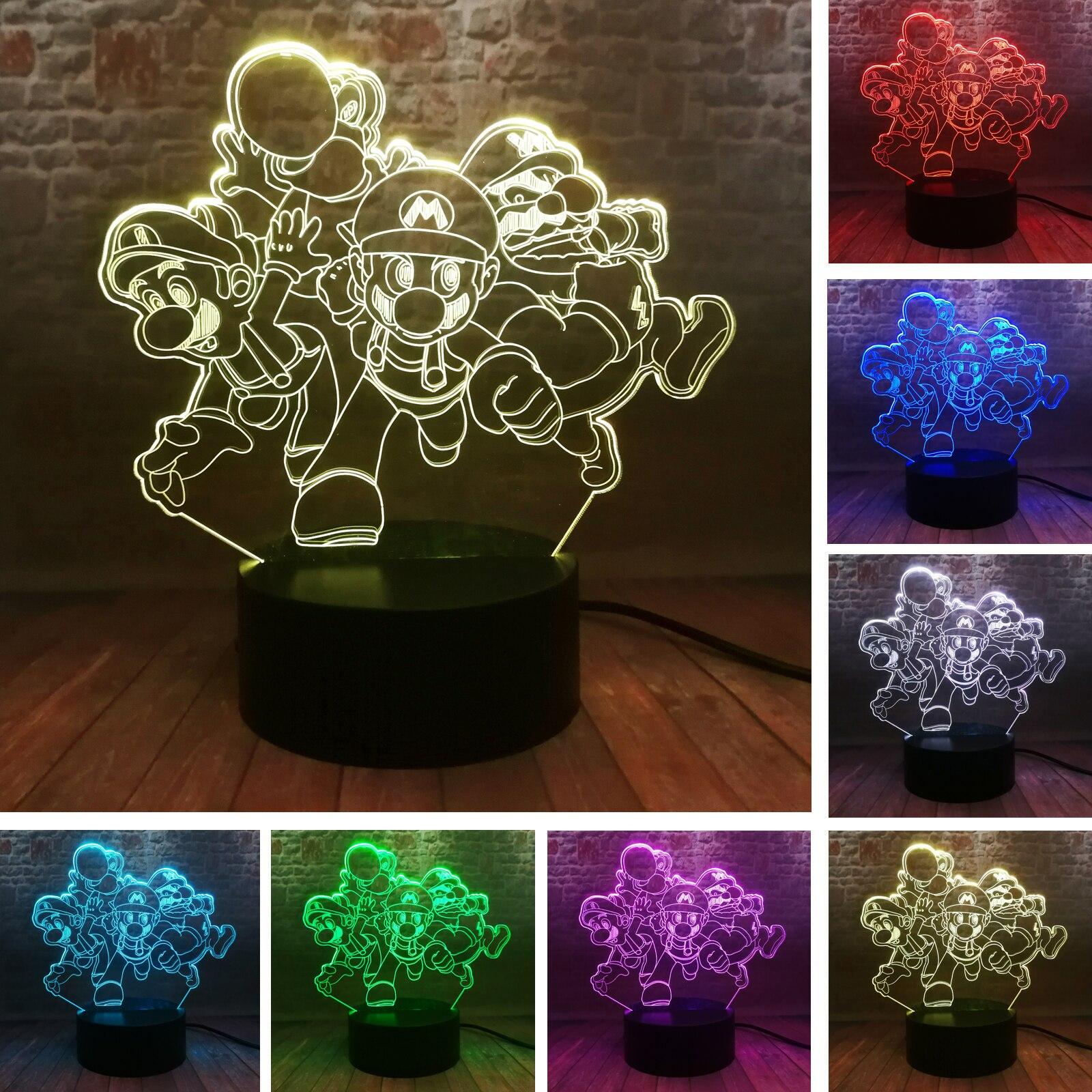 Игра Super Mario Bros Family Team Yoshi фигурку Ночной светильник светодиодный 7 цветов меняющий сенсорный 3D лампа для спальни для детей и малышей
