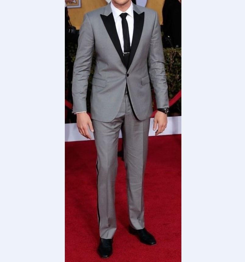 Custom Made Groomsmen Light Grey Groom Tuxedos Peak Black Lapel Men Suits Wedding/Prom Best Man Blaz
