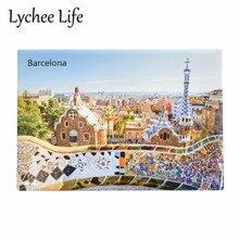Autocollant magnétique de réfrigérateur scénique de barcelone   Souvenir magnétique de réfrigérateur de paysage célèbre, décoration de cuisine domestique, cadeaux