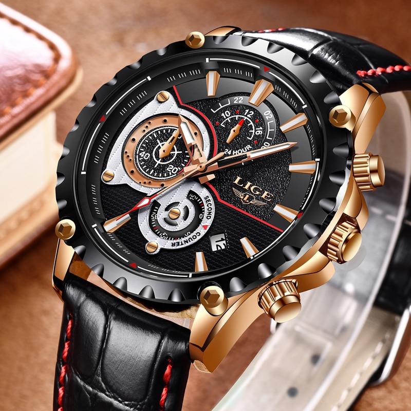 2020 LIGE Watch Men Fashion Quartz Army Military Mens Watches Top Brand Luxury Leather Waterproof Sports Watch Relogio Masculino