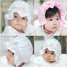 Bonnet de soleil unisexe pour nouveau-né   Nœud à pois, dentelle dété, bonnet frais, rose blanc, joli bonnet 2-12 mois, chapeau dextérieur de haute qualité