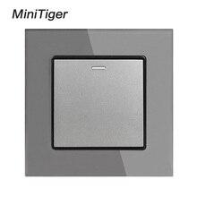 Minitiger panneau de panneau en verre trempé   Blanc, cristal de luxe, 1 Gang, 1 voie, interrupteur mural à bouton fermé/Off, 16A AC 250V