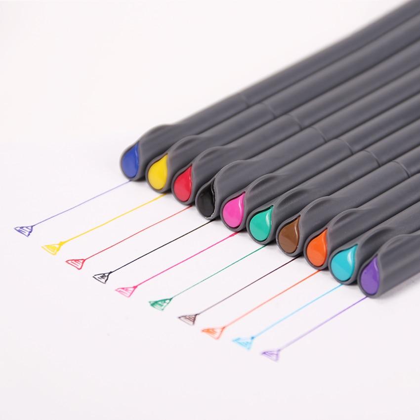 10 шт./лот, многоцветная ручка для рисования с тонкими линиями, для мультфильмов, для рекламы, цветные ручки, 0,38 мм, Детские принадлежности для...
