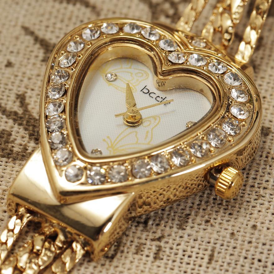 New Brand Women Pearl Bracelet Watch Unique Design Heart Shape Dial Fashion Gold Ladies Dress Watches relogio original