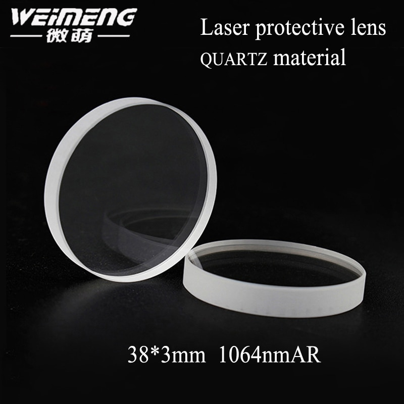 Weimeng marca 38*3mm JGS1 material de cuarzo láser protector de la Lente de la ventana de la película de forma de plano láser protecive glass para máquina de láser