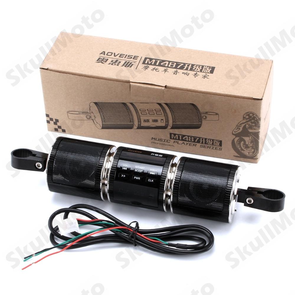 Accesorios para motocicleta, altavoz negro con montaje en manillar Bluetooth, sistema de Audio, reproductor MP3, altavoz estéreo, impermeable, Universal