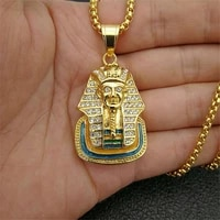 egypt pharaoh sphinx pendant with stainless steel chain and iced out bling rhinestones necklace hip hop egyptian jewelry