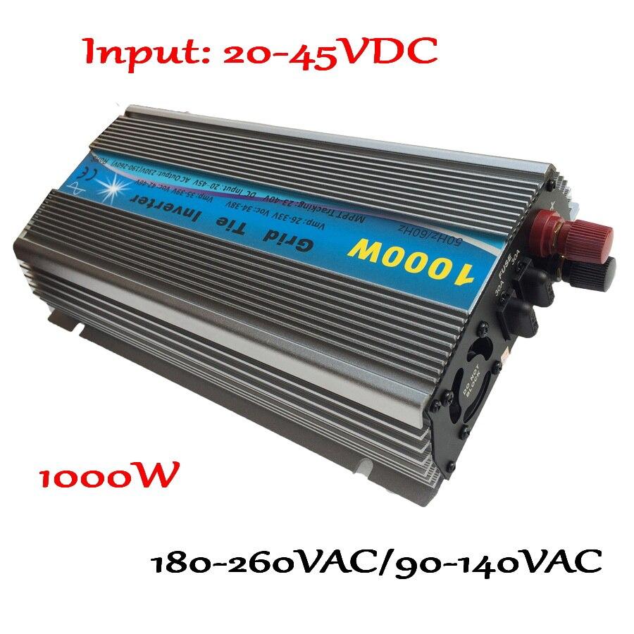 1000 واط 30 فولت 60 خلية/36 فولت 72 خلية MPPT محوّل ربط شبكي 20-45VDC إلى AC190-260V أو 90-140 فولت على شبكة التعادل مايكرو العاكس 1000 واط