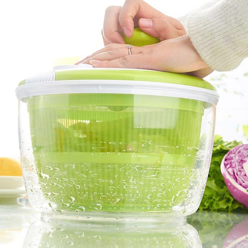 Recién ensalada Spinner con vertiendo Caño 5L de gran capacidad verduras secador de filtro de criba colador cesta VA88