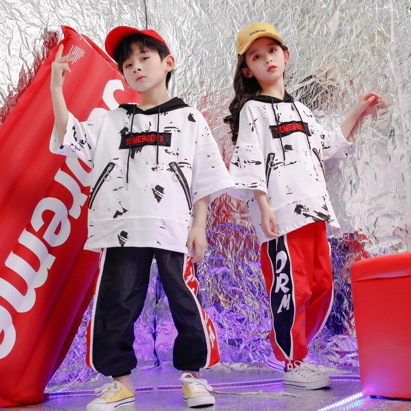 Kids Concert Hip Hop Clothing Outfits Loose Hoodie Tops Pants Girls Boys Performance Jazz Dance Costume Wear Ballroom Stage Wear