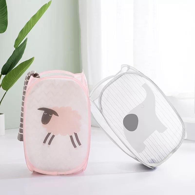 Folding Dirty hamper Clothes laundry organizer Bag Home laundry Basket Storage Bag Baby Toy Mesh Sto